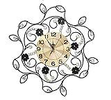 NWYJR Wanduhr Iron Fashion Mute en Europa Elegant Flower Art Crystal Diamond Staaten Wohnzimmer Schlafzimmer Kreative Hängende Uhren