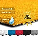 casa pura Kunstrasen Premium Color • Weicher Flor 25 mm • UV-beständig  6000 h & wasserdurchlässig • Rasenteppich Meterware • Teppichrasen für Balkon, Terrasse, Deko (gelb, 100x150 cm)