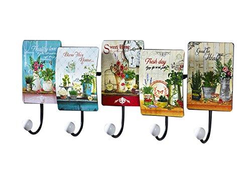 Kleiderleiste Kleiderhaken Garderobenhaken Garderobenleiste Hakenleiste aus Metall mit 5 Häken und Blumendekor