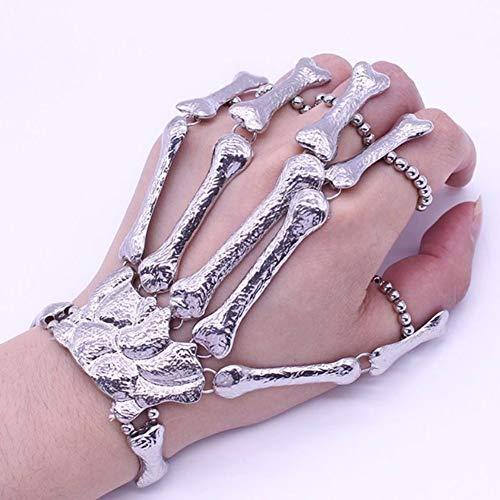 EROSPA® Skelett Metall-Handschuh Skeleton Knochen - Silber - Halloween Karneval Fasching (Skelett Handschuhe Knochen)