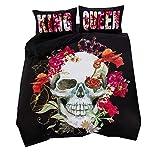 Bettwäsche Set Schwarz 3D Skull Funky Gothic Schädel Rote Blume Musterdesign Bettbezug & Kissenbezug King Size 220x240cm