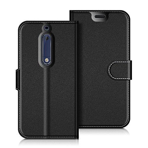 Coodio Nokia 5 Hülle Leder Lederhülle Ledertasche Wallet Handyhülle Tasche Schutzhülle mit Magnetverschluss / Kartenfächer für Nokia 5, Schwarz