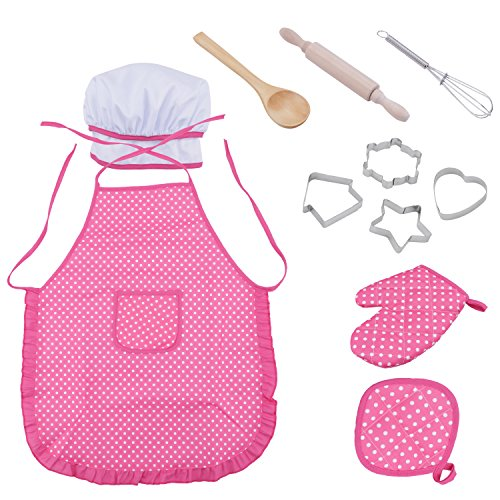 Amatt Chef Set for Kids, 11pcs Children Cooking Set for Girls Toddler Role Play Cook Costume with Apron, Chef Hat, Utensils, Cooking Mitt