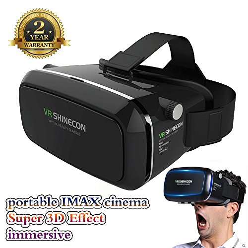3D VR Glasses vr Headset 360° Viewing Immersive Virtual Reality Headset for 3D Movies Video Games VR box, Compatible with iPhone 7 Plus/ 6s Plus Samsung Galaxy Series