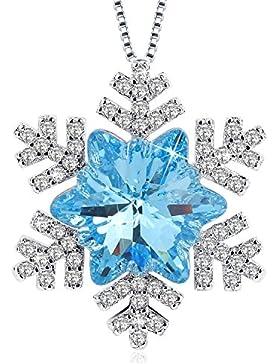 J.Rosée Swarovski Kette Damen 925 Sterling Silber Zirkonia Halskette Silber mit Blumen Anhänger