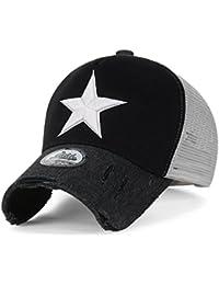ililily Stern Stickerei schwarz weiss Trucker Cap Hut verstellbarer Baumwolle Baseball Cap