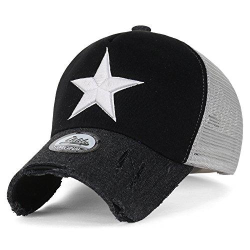 3b7d358bb35 ililily Star Embroidery Black White Trucker Hat Cotton Baseball Cap (XL