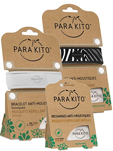 Imagen de para'kito parakito  proteccion natural antimosquito  kit 2 x pulsera repelente de mosquitos blanca y negra + 1 x recarga pulsera