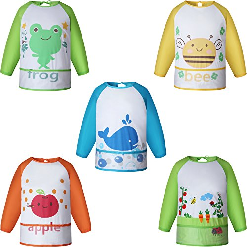 Ateid 5 Pack Baby Waterproof Long Sleeved Bibs 51Ff5YT6wVL