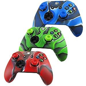 Pandaren® Silikon hülle skin für Xbox One controller x 3 + thumb grip aufsätze x 6(Tarnung rot grün blau)
