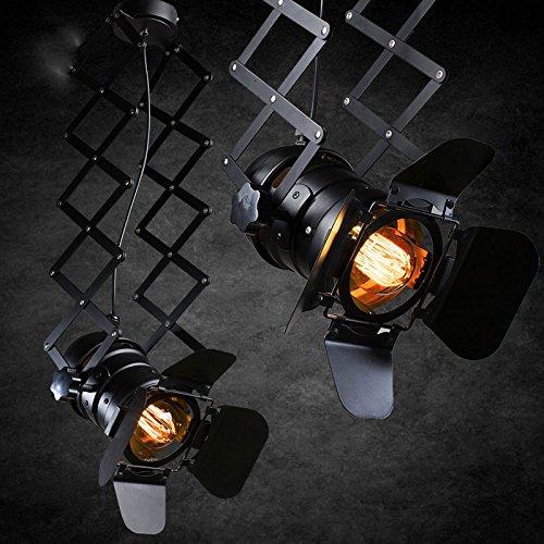 Hoobor House industriale americano personalità retrò luci luce da soffitto Lampade da soffitto compresi E27lampadina led versione massima, nero, 5W Lampada a luce bianca