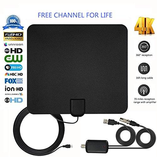Antena de TV, 2018 Versión Mejorada Digital Antena Interior HDTV de Rango Amplificado DE 50 to 70 Millas con Amplificador de Señal y Amplificador Avanzado y Cable Coaxial DE 16 Pies