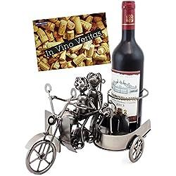 Brubaker-Soporte de Botella de Vino Moto Par con Sidecar Plegable y Perro-Escultura de Metal con Tarjeta de Regalo