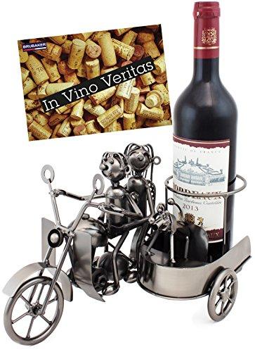 BRUBAKER Portabottiglie dal design'Coppia sul moto con sidecar' - Con biglietto di auguri