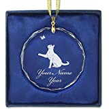 Round Crystal Christmas Ornament - Cat With Butterfly - Personalized Engraving Included
