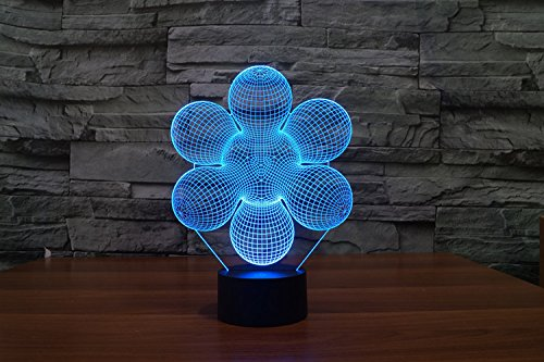 Kjfgkf @ 3D Nachtlicht Nachtlampe Für Heimbüro-Raum-Thema-Dekoration Abstraktes 3D Führte Lampe 7 Farben Ändern Usb-Touch-Knopf-Entwurfs-Illusion