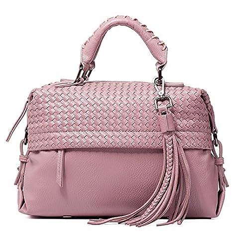 Female Bag 2017 Fashion Simple Ladies Handbag Woven Large Bag Shoulder Bag Messenger Bag Portable,Purple-OneSize