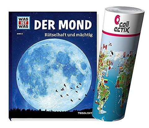 WAS IST WAS Sachbuchreihe BAND 021: Der Mond - Rätselhaft und mächtig + Kinder Weltkarte Poster by Collectix