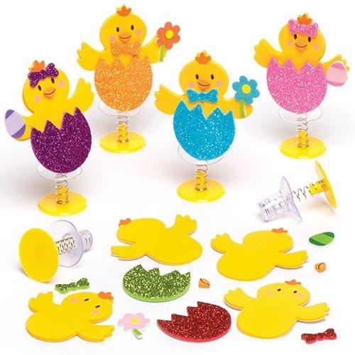 """Bastelsets """"Osterküken"""" mit Hüpffunktion – Perfekt als Ostergeschenk oder als kleine Party-Überraschung für Kinder (6 Stück)"""