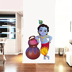 Rawpockets 'Lord Krishna and Butter Pots ' Wall Sticker (PVC Vinyl, 50 cm x 75cm)