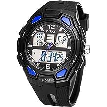 13a6c4bbc525 Feoya Deportivo Reloj Pulsera Digital LED Analógico de Cuarzo Dual-time  Resistente al Agua 50M