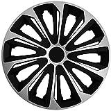 (Größe und Farbe wählbar!) 16 Zoll Radkappen / Radzierblenden STRONG BICOLOR SILBER (Farbe Schwarz-Silber), passend für fast alle Fahrzeugtypen (universal)