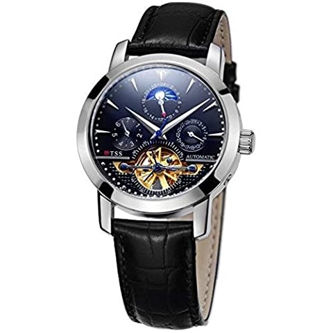TSS Men's 40mm Black Leather Band Steel Case S. Sapphire Automatic Analog Watch T8030PC2