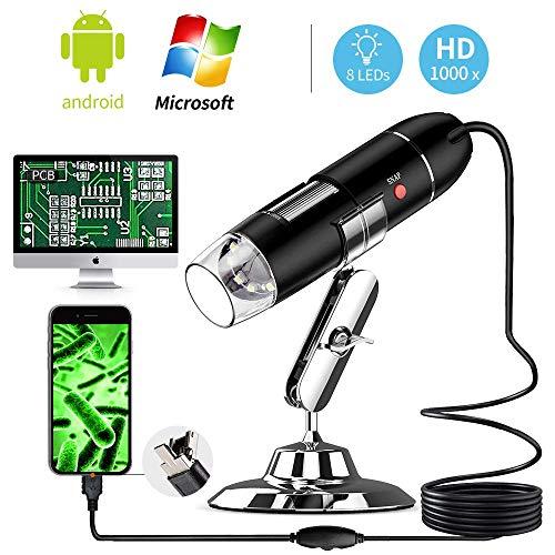 Wifi USB-Mikroskop 1000facher Zoom 1080p Labor-Handheld-Digitalmikroskope Mini-Kamera, mit OTG-Adapter und Metallständer, kompatibel für Android, Mac, Windows, Linux