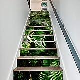 Stickers Escaliers Muraux Autocollants 13Pcs / Set Feuilles Vertes 3D Pvcwaterproof Auto-Adhésives Amovibles Décorations À La Maison 18 X 100 cm...