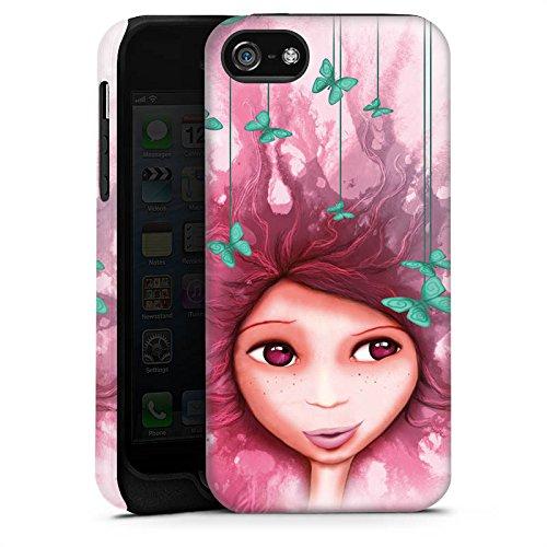 Apple iPhone X Silikon Hülle Case Schutzhülle Mädchen Schmetterling Pink Lila Tough Case matt