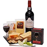 Port, Cheese & Crackers Gift Set - Port and Cheese Hampers, Gift Baskets for Him