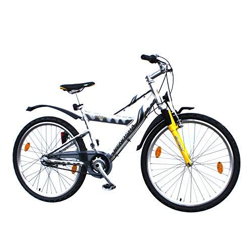 Mountainbike 26 Zoll Alu 7 Gang Nexus RH 43 cm Fahrrad gelb mit StVZO Ausstattung für Jugendliche und Erwachsene