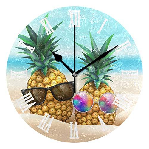 SUNOP Uhr für Kinder, mit Öl-Aufdruck, Ananas-Sonnenbrille am Strand, Party, Wanduhren für Wohnzimmer, Schlafzimmer und Küche, Vintage-Stil