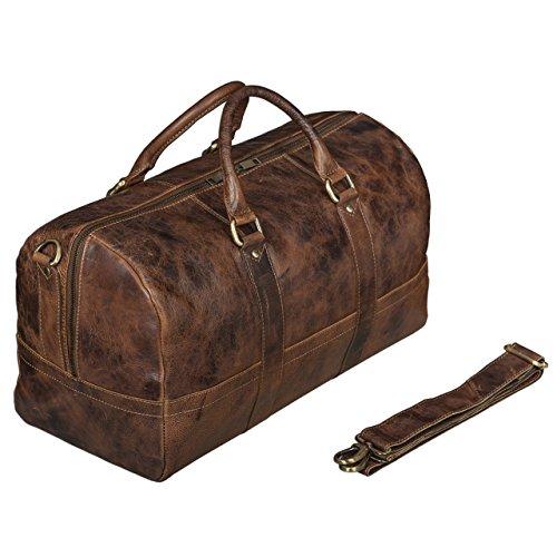 STILORD Leder Vintage Reisetasche Weekend Bag Urlaub Ledertasche Handgepäck Sporttasche Retro Weekender echtes Leder braun