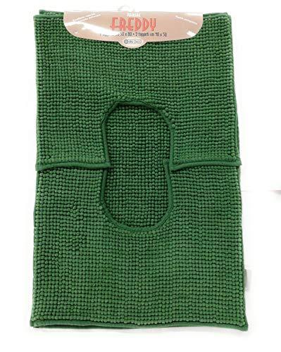 Parure Trappeto Bagno Freddy, col. Verde, 100% Morbida Microfibra, Fondo Antiscivolo, Assorbente, Lavabile in Lavatrice, 1 Tappeto 50x80cm + 2 tappeti 40x50