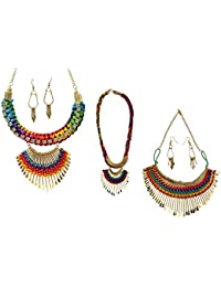 Mansiyaorange Funky Casual College Wear Multi Purpose Multi Colored Thread Work Combo Of Three Necklace Sets For...