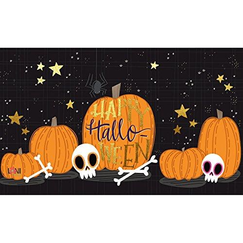 (Evergreen Garden 41EM2362BL Halloween Skull Floor Embossed Door Mat, Multicolor)
