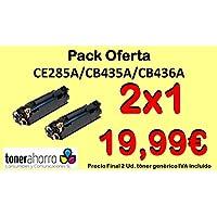 tonerahorro® Pack 2ud CE285A CB435A CB436A nero cartuccia de Toner