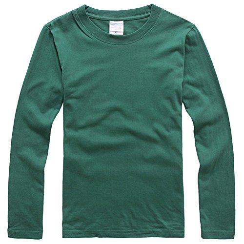 Baymate Unisex Einfarbig Lightweight Raglan Sweat Runder Kragen Pullover Dunkel Grün