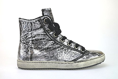 scarpe donna CULT sneakers alti stivaletti nero argento pelle AK795 (36 EU)