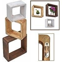 ts-ideen Juego de 3estantes estilo rústico estante de pared para colgar, madera maciza en marrón claro, marrón oscuro y Shabby blanco