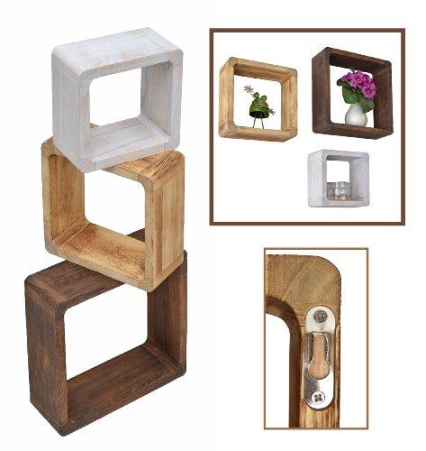 Ts-ideen 4386 - set 3 ripiani a cubo, in legno massiccio, stile retrò, effetto naturale, colore: bianco/beige/marrone