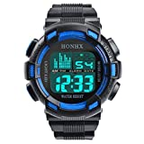 Herrenuhr Luxus Sport Datum Quarz Uhren,Hevoiok Populäre Wasserdicht Manner Junge Edelstahl LED Digital Uhr Armee Militär Gummiband Luminous Armbanduhr (Blau A)