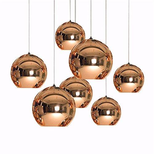 Arte moderna globo luce pendente rame dorato specchio Sfera di Vetro di Lampada Lampada a sospensione tavolo da cucina di apparecchi di illuminazione, argento 30cm