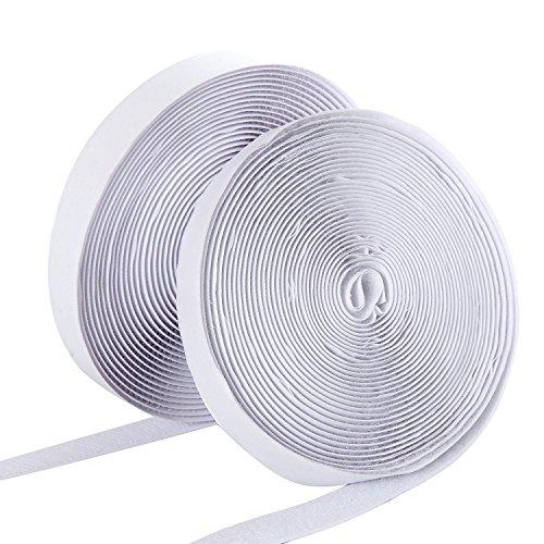 omaloo Haken- und-Loop Tape selbstklebend Klebeband 10m/32.8ft lang * 2cm/1,9cm breit Verschluss Tape Streifen Montagekleber Sticky Back Tape Rolle (weiß) (Schleifen Schleife Papier Haken Und)