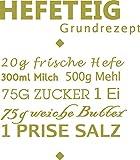 GRAZDesign Küchedeko Hefeteig Rezept - Geschenk für Beste Freundin Wandtattoo Sprüche - Sprüche für die Küche Zutaten - Wandtattoo Küche über Esstisch / 46x40cm / 826 Oasis / 300036_40_WT826