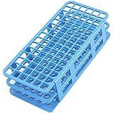 sourcingmap® Support de tube de test en plastique bleu de 90 positions et trou de 12 mm pour laboratoire