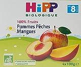 Hipp Biologique 100% Fruits Poires Prunes Cassis/Poires Bananes Kiwis/Pommes Pêches Mangues dès 6/8 mois - 24 coupelles de 100g - lot de 6(2x2x2).