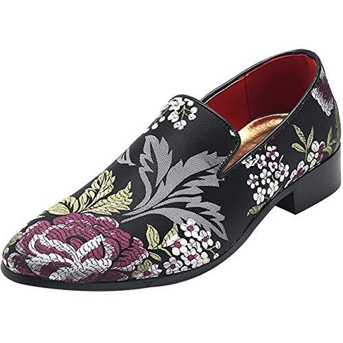 Shengjuanfeng Herren Wanderschuhe Slip On Satin Upper Pointed Toe chinesische Stickerei Blumen Muster Block Heel Vintage (Color : Schwarz, Größe : 43 EU) Satin-vintage-heels