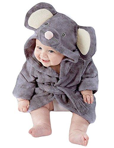Tkria Baby Mädchen Jungen Bademäntel Kleinkind Säugling Schlafanzüge Morgenmantel Kapuze Badetuch Flanell Fleece Für Kinder 1 2 3 4 5 Jahr, Grau 1, 3-4 Jahre/104